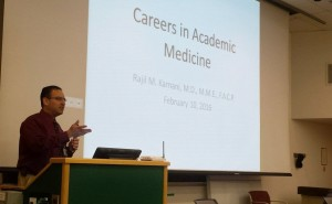 Dr. Rajil Karnani lectures to the MSRJ Elective students about pursuing a career in academic medicine.